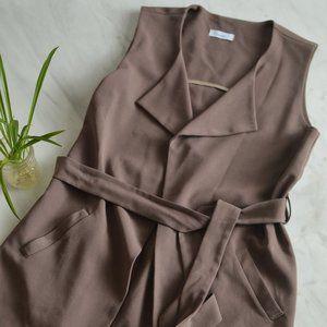Longline Tie-Waist Vest Coat